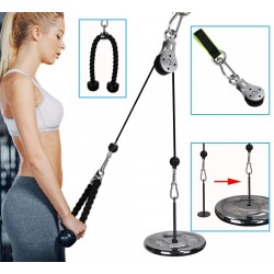 Wrist Roller Trainer Arm Strength Training Rope Cable Pulley System Muscle Strength Fitness Equipment for Lat Pull downs, Bicep curls, Triceps Extensions Fitness Gym Workout