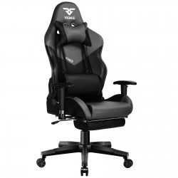 Bigger & Wider | VX RACE Gaming Chair with Footrest/ Swivel Leather Desk Chair-Grey