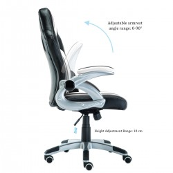 Home Office Chair,Racing Style Adjustable Armrest Swivel Leather Computer Desk Chair