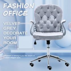 JL Comfurni   Vintage Home Office Computer Desk Girl Chair Velvet Fabric Swivel Armchair[Vintage Series-Grey]