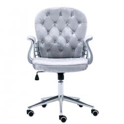 JL Comfurni | Vintage Home Office Computer Desk Girl Chair Velvet Fabric Swivel Armchair[Vintage Series-Grey]