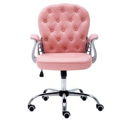 JL Comfurni | Vintage Series-Pink | Home Office Chair | Rocking Swivel PU Leather Chair [A07PK]
