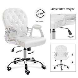 JL Comfurni | Vintage Series | Home Office Chair | Rocking Swivel PU/Velvet Computer Desk Chair [A07]