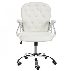 JL Comfurni | Vintage Home Office Computer Desk Girl Chair Faux Leather Swivel Armchair[Vintage Series-White]