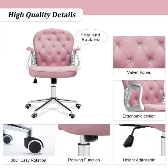 Vintage Series | Home Office Chair | Rocking Swivel PU/Velvet Computer Desk Chair