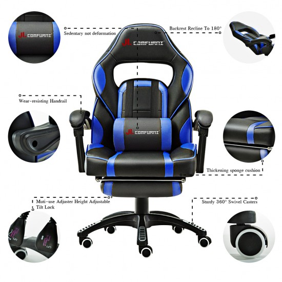 JL Comfurni |  Gaming Office Chair With Footrest/Computer Chairs/ Swivel Leather Desk Chair [A10]