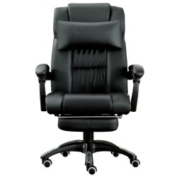 JL Comfurni | Black Office Chair | Recliner Swivel Leather Computer Chair with Headrest [A11BK]