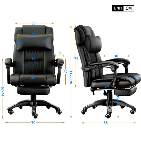 Black Office Chair   Recliner Swivel Leather Computer Chair with Headrest [A11BK]