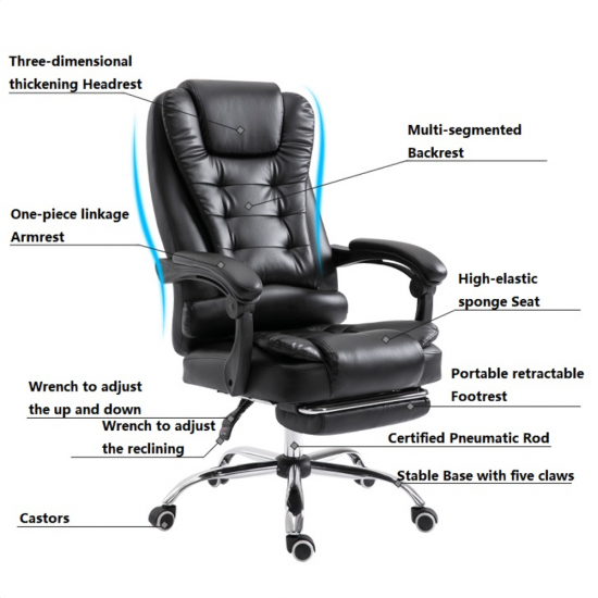 Retro Office Chair with Footrest  Recliner Swivel Leather Computer Chair