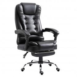 JL Comfurni | Black Retro Office Chair | Recliner Swivel Leather Computer Chair  [EBGP]