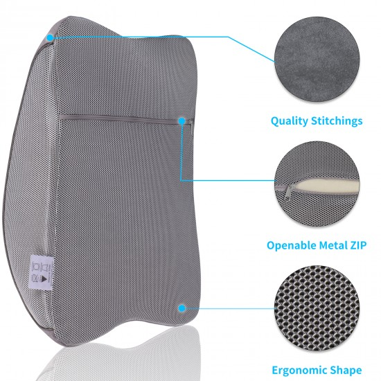 JL Comfurni  Lumbar Pillows Back Support Cushions Memory Foam Pillow with Breathable Mesh Cover for Office Chair, Car and Bed