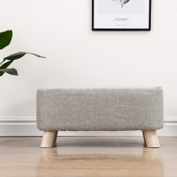 Upholstered Stool Bench Ottoman Square Pouffe Footstool Wooden Change Shoes Stool Footrest Stool for Bedroom Living Room Hallway (Grey)