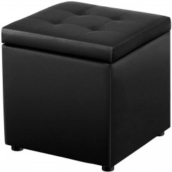 Storage Ottoman Upholstered Footstool Change Shoe Storage Stool Black with Revealable Padded Seat for Living Room, Bedroom