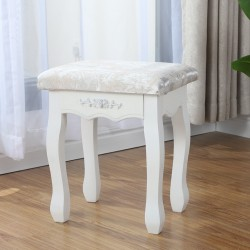 White Vintage Dressing Table Stool Padded Stool for Dressing Soft Vanity Makeup Stool Makeup Seat for Bedroom