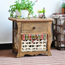 Wooden Shabby Chic Bedside Side Table Brown Vintage Chest of Drawer Floor Standing