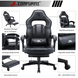 JL Comfurni | Gaming Office Gaming Chair/Footrest Chair/ Office Computer Desk Chair [CHAIR-BL2]