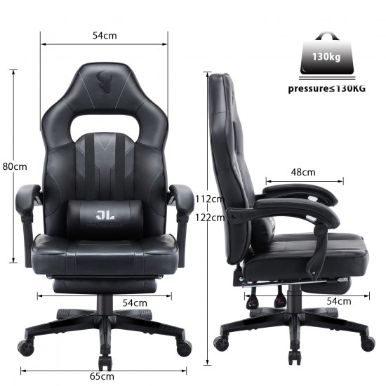 HALO Series Black   Gaming Office Gaming Chair/Footrest Chair/ Office Computer Desk Chair