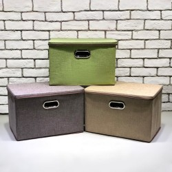 Collapsible Fabric/Canvas Clothing Storage Basket Bins Toy Box With Lid (BOX-)