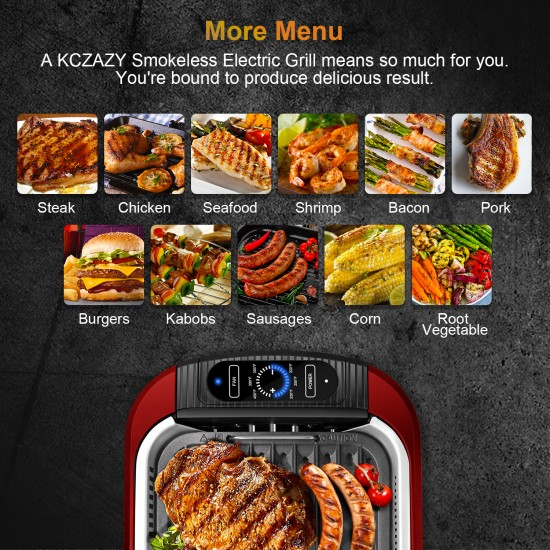 Electric Smokeless Grill Indoor or Outdoor Use, included Cookbook (GR20)