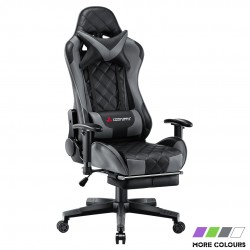 JL Comfurni | Athena Argyle Series | Gaming Chair with Footrest/ Swivel Leather Desk Chair [V-JD]