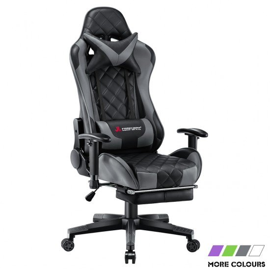 Athena Argyle Series | Gaming Chair with Footrest/ Swivel Leather Desk Chair [V-JD]