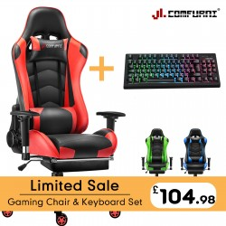 JL Comfurni | Classic Series | Gaming Chair Footrest Model with Gaming Keyboard Set[GC-S+JD+KB]