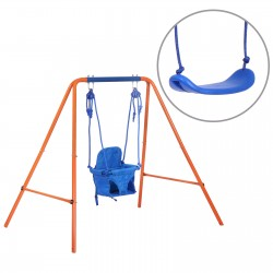 Swing Sets for Backyard,Heavy Duty Swing Kids for Indoor Outdoor Playground,Steel Frame with Adjustable Hanging 2 Seats for 3-10 Years Old Kids