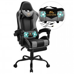 JL Comfurni | Constellation Series Grey | Gaming Chair with Footrest/Computer Chairs/ Swivel Leather Desk Chair