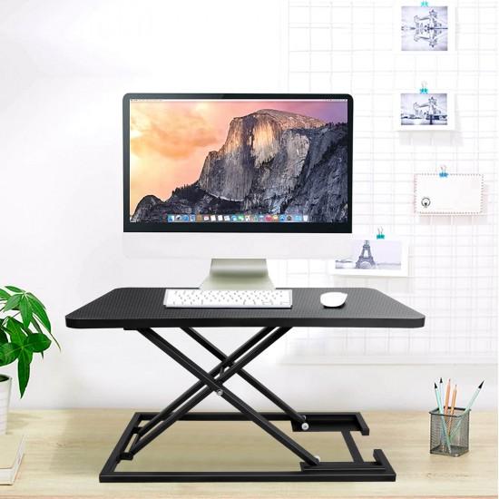 JL Comfurni Workstations Riser Home Office Computer Desk for Monitor Laptop Adjustable Height with Gas Spring Riser
