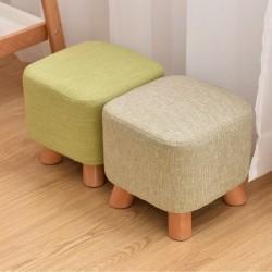 Upholstered Footstool /Linen Cover Stool /Wooden Leg Ottoman-Tartan