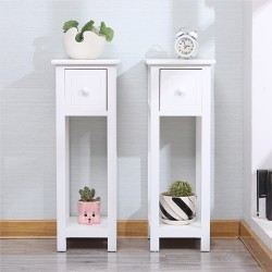 Set/Pair of Tall Slim Bedside/ Telephone Tables with Drawer-White