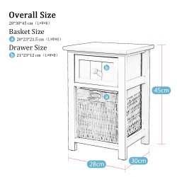 A Pair Fully Assembled White Shabby Chic Bedside Cabinet Unit Table W Wicker Basket Storage Bathroom Bedroom