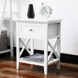 White Bedside Tables with Drawer Nightstand Cabinet InDoor Furniture Storage