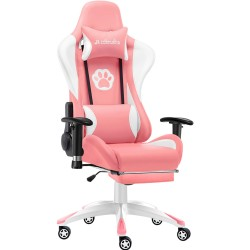 Pink Cat claw | Gaming Chair with Footest/Computer Chairs/ Swivel Leather Desk Chair [J12CTPK]
