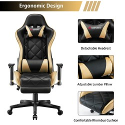 Athena Argyle L Series Gold | Gaming Chair/Computer Chairs/ Swivel Leather Desk Chair