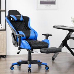 Athena Argyle L Series Blue| Gaming Chair with Footrest