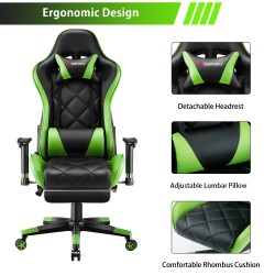Athena Argyle L Series Green| Gaming Chair/Computer Chairs/ Swivel Leather Desk Chair