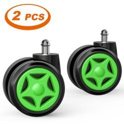 A Pair of Chair Wheel | Green Gaming Chair Wheel 2 PICS