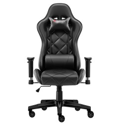 JL Comfurni | Athena Argyle Series | Gaming Chair/Computer Chairs/ Swivel Leather Desk Chair [GRID-BK]
