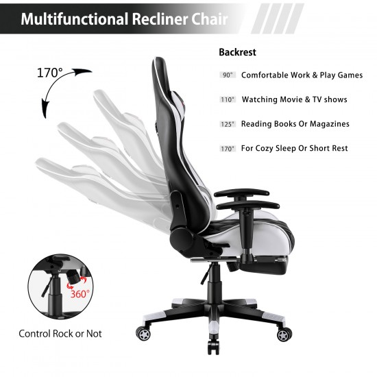 Athena Argyle Series | Gaming Chair with Footrest/Computer Chairs/ Swivel Leather Desk Chair [GRID-WT+JD]