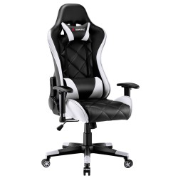 JL Comfurni | Athena Argyle Series | Gaming Chair/Computer Chairs/ Swivel Leather Desk Chair [GRID-WT]