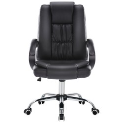 JL Comfurni   Home Office Chair/Faux Leather Chair/Computer Desk Chair - Black [HF-L08]