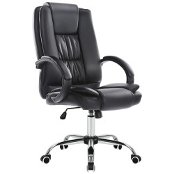 JL Comfurni | Home Office Chair/Faux Leather Chair/Computer Desk Chair - Black [HF-L08]