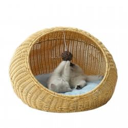 JR Knight Cat Nest, Cat Bed,Rattan Cat House,Kitten Bed, Summer Small Cat Dog Sleeping House