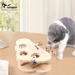 Cat Puzzle Toy, Wooden Cat Toy with Cute Cartoon Mouse for Cat Hunting Playing Scratching