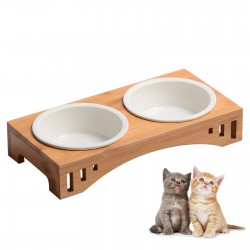 Wooden Cat Bowls with Stand Raised Cat Bowl for Feeding Food and Water