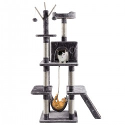 Cat Tree Scratching Post Climbing Play Tower with Fur Toy for Large Cats - 49*49*157cm (Beige/Grey)