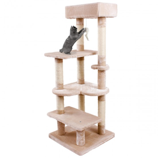 Cat Tree Scratching Post Climbing Play Tower with Fur Toy for Large Cats - 51*51*136cm (Beige/Grey)