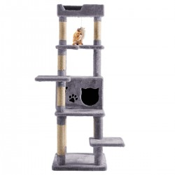 JR Knight Cat Tower Cat Tree Cat house Cat Bed with Condo, Hanging Toy Mouse, Top Watch Towel (Grey)