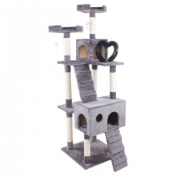 Cat Tree Scratching Post Climbing Play Tower with Fur Toy for Large Cats - 56*56*186.5cm (Grey)